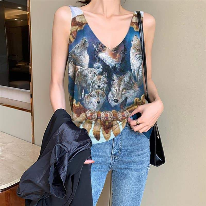 Photo of Indios Tank Top Women Wolf Tank Tops Casual Animal Anime Clothes Lovely Funny Top – L