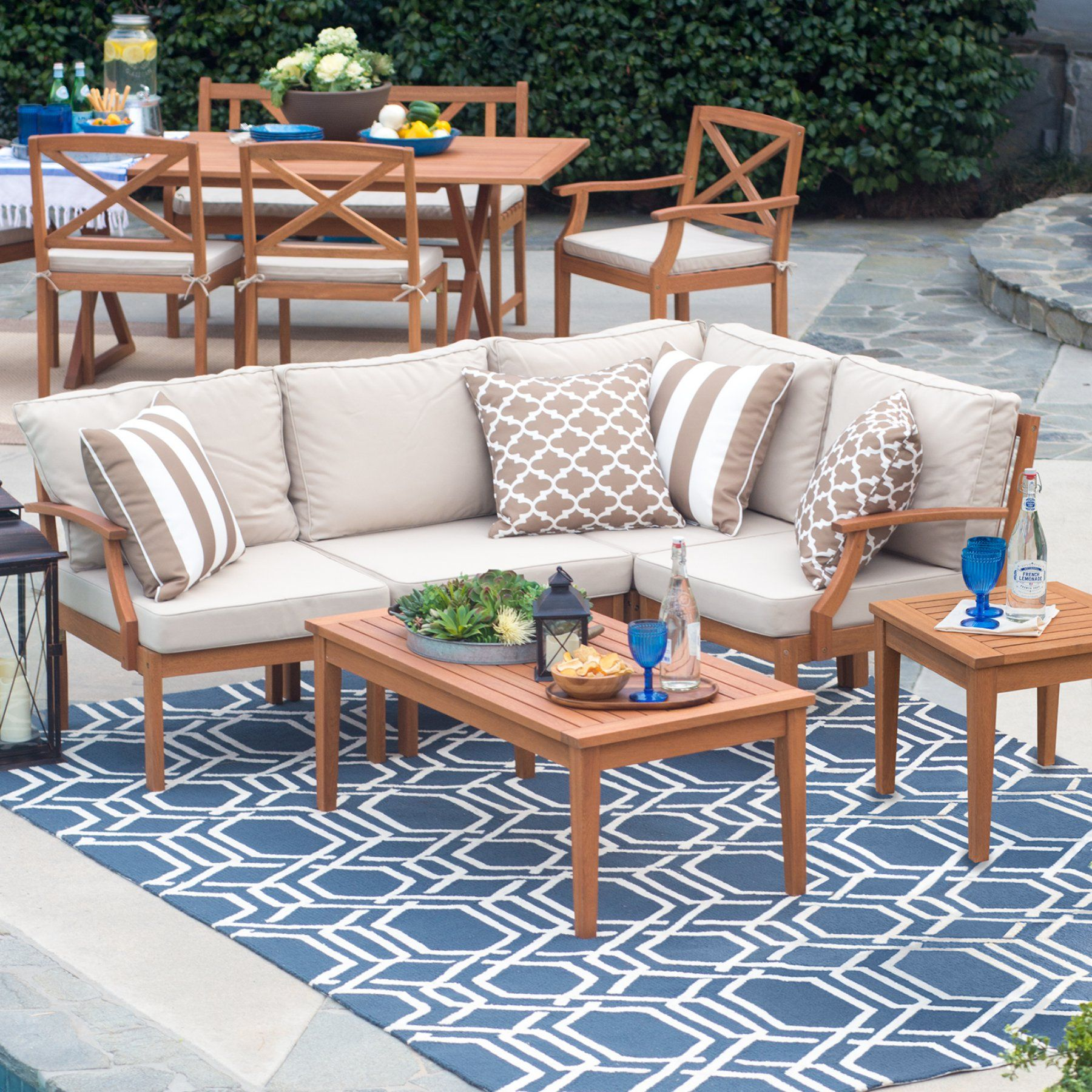 Belham Living Brighton Outdoor Wood Conversation Sectional ... on Belham Living Brighton Outdoor Daybed id=59940