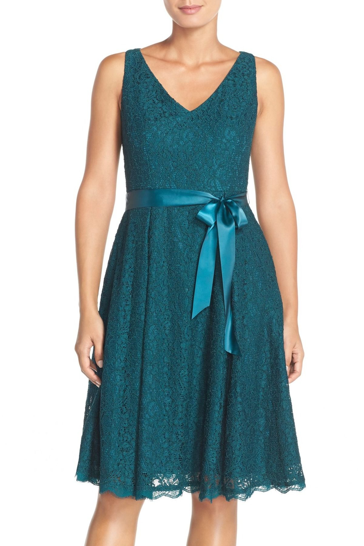 Adrianna Papell | Belted Lace Fit & Flare Dress (Petite | Fit flare ...