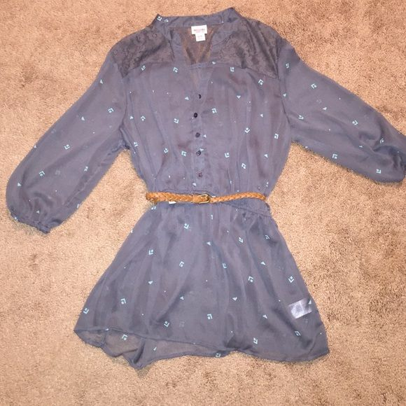Belt included with gray button up blouse Sheer top with lace shoulders, belt included Tops