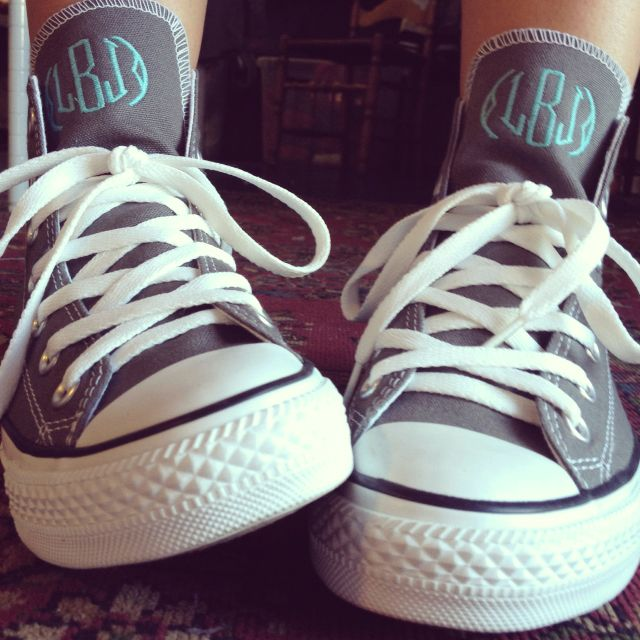 New shoes I just embroidered for @lilliejeanne!! #embroidery #monogram #conversehitops #newshoes #obsessed