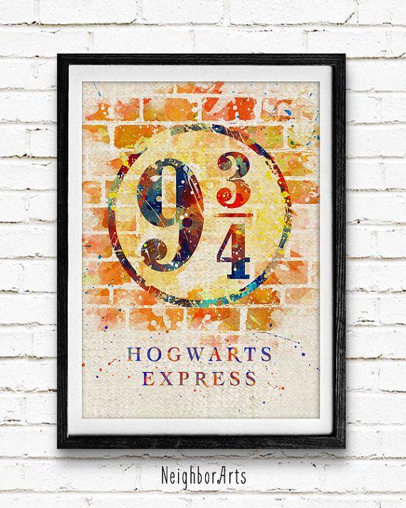 Hogwarts Express Platform Watercolor Print Harry by NeighborArts ...