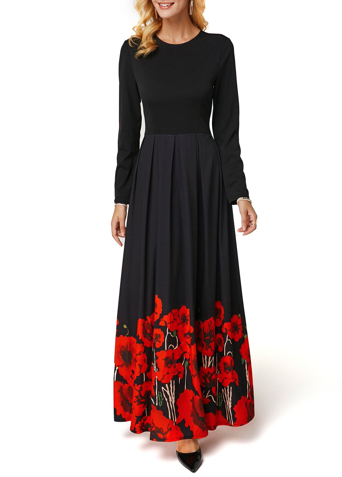 Flower print black long sleeve maxi dress in dresses