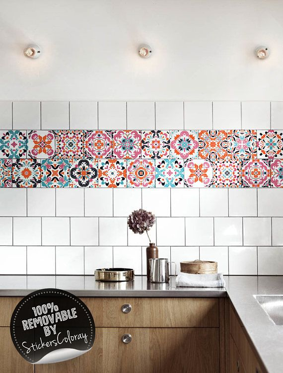 Mexican Tile Stickers Pack Of 24 Colorful Backsplash Decals