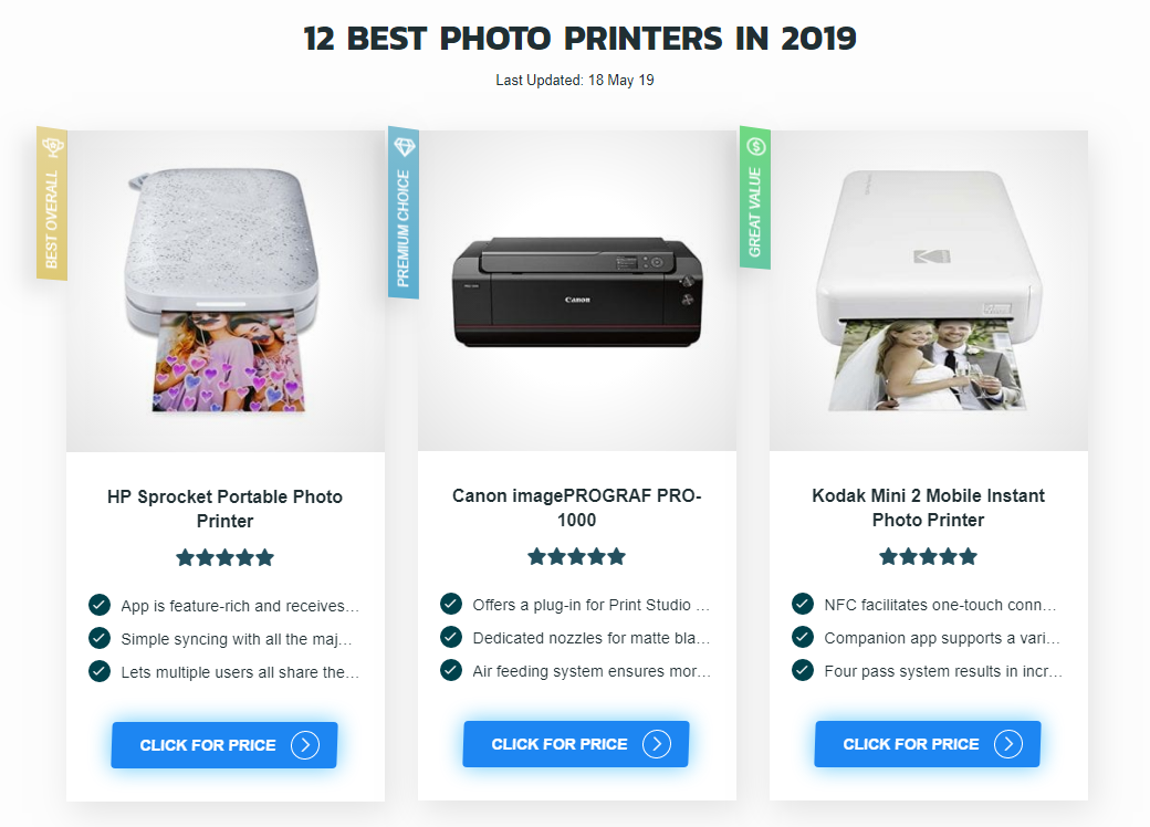 12 Best Photo Printers In 2019 Reviews Guide Hotrate Best Photo Printer Photo Printer Portable Photo Printer