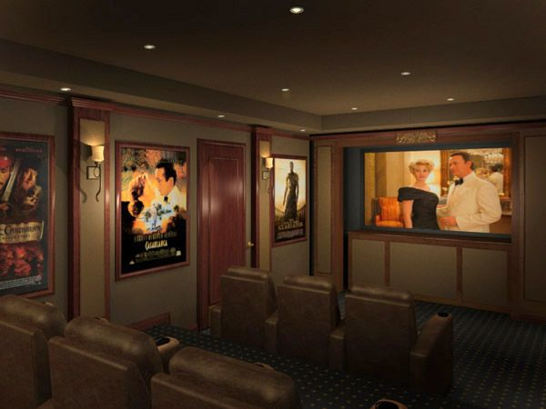 Vintage Framed Posters In Home Theater Home Theater Design Home Cinema Room Home Theater Decor