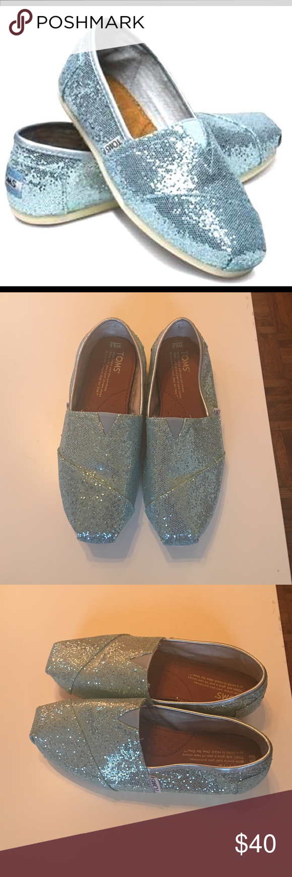 Limited edition sparkly Baby Blue Toms These were very hard to find! Worn once and in mint condition! Sad to see them go but I just don't see myself wearing them any time soon. Toms Shoes