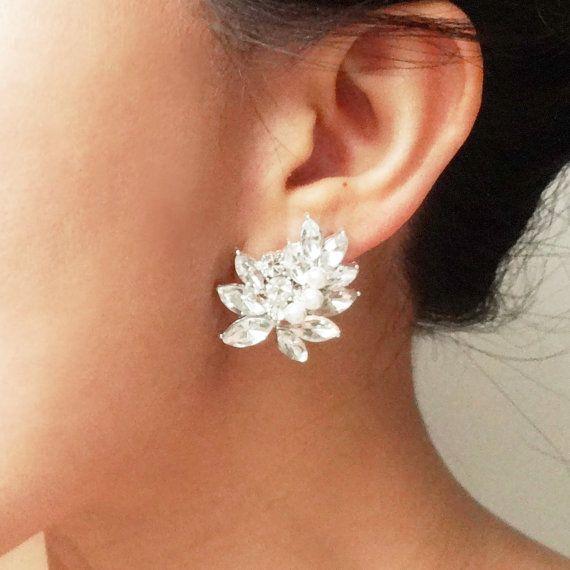 Statement Rhinestone Bridal Stud Earrings Vintage By Luxedeluxe 69 00