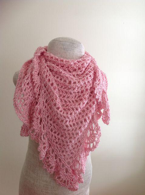 Crochet Patterns Galore Pink Lacy Triangular Shawl Crochet