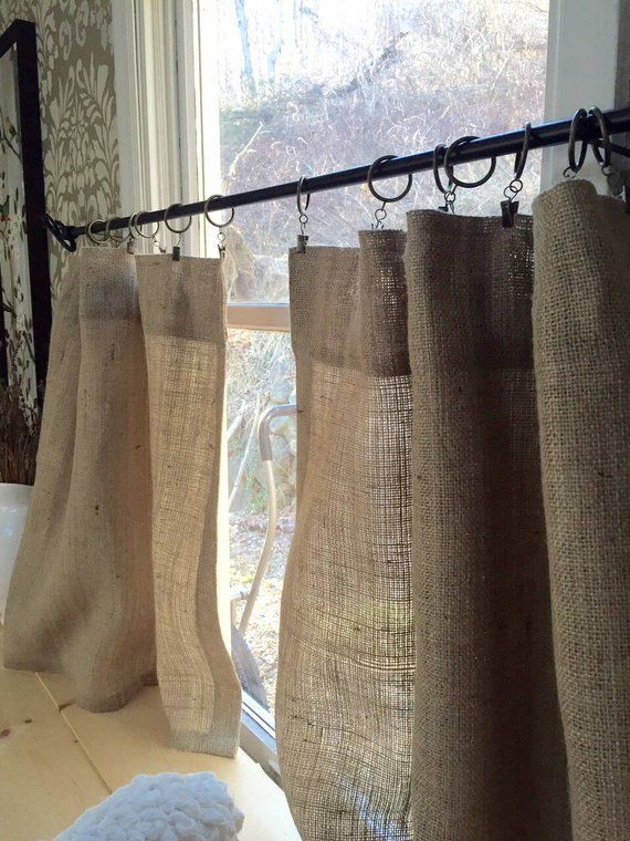 Burlap Panels Cafe Curtain In 2019 Cafe Curtains Kitchen