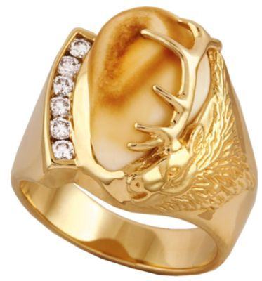Frontier Collection Men S 10 Kt Gold 1 3 Ct Tw Diamond Elk Ivory Ring Rings For Men Elk Ivory Ring Elk Ivory