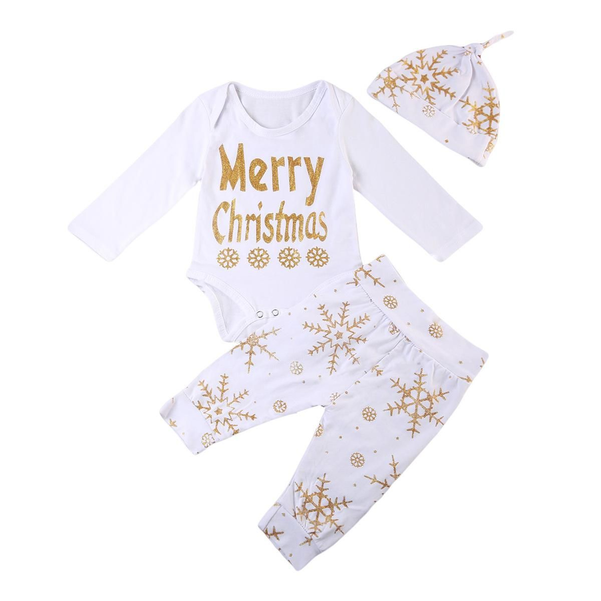 432b8edf46f2 Cotton Christmas Clothes Tops Romper Pants Hat 3PCS Newborn Baby ...