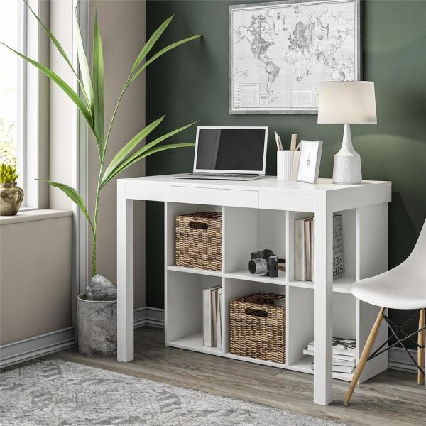 Ameriwood Home Nelson White Computer Desk With Cubbies Hd62820 The Home Depot Desks For Small Spaces Furniture For Small Spaces Desk In Living Room