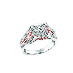 Two tone 14k rose and white gold ring Fire and Ice Canadian diamond