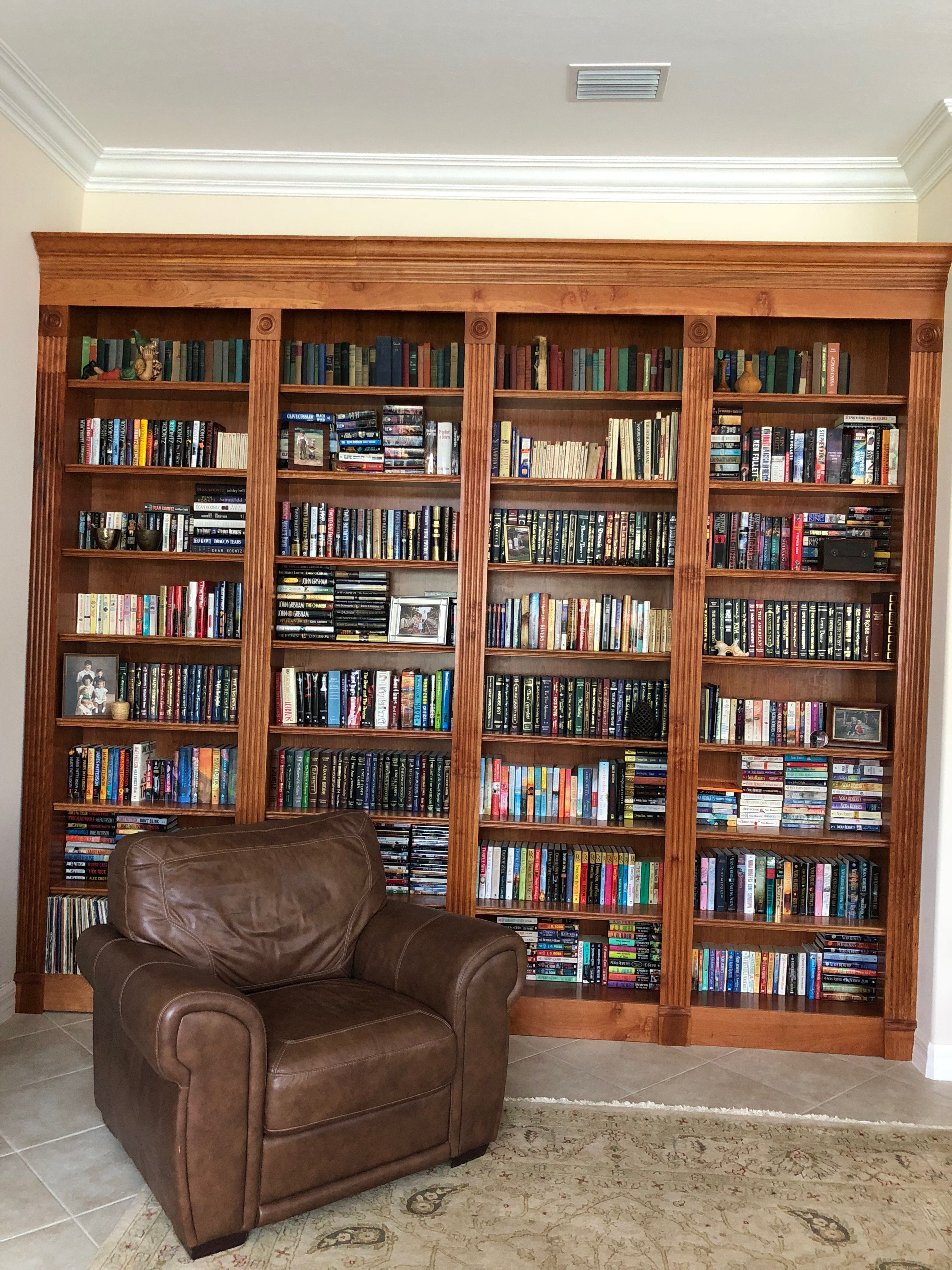 Cherry built-in bookcase. 10 feet high by 12 feet wide. | Built in