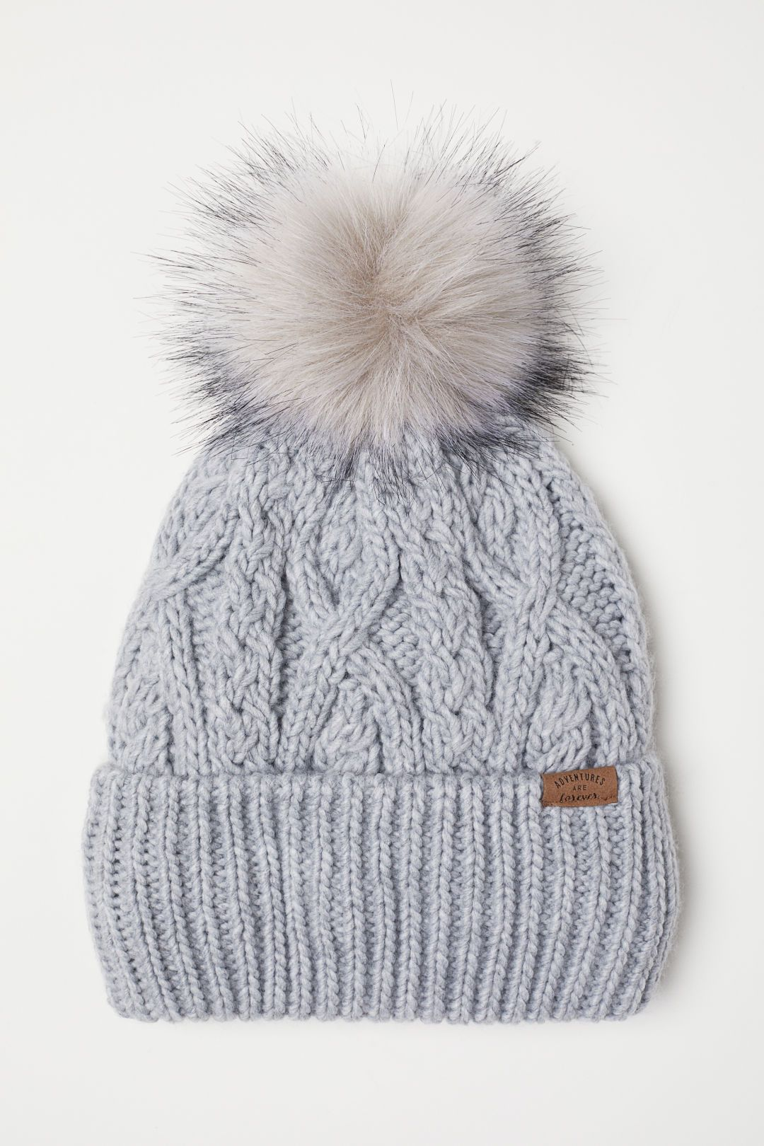 Ladies Chunky Knit Hat with Faux Fur Bobble 3 Colours to Choose