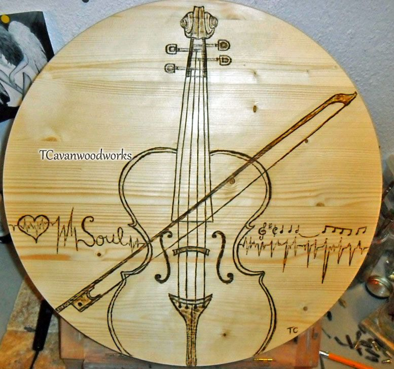 Violin wall art, original freehand pyrography. Large wood wall art ...