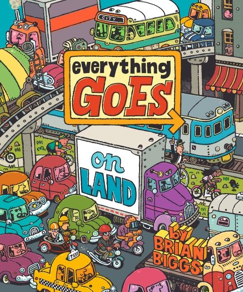 Everything Goes: On Land is the first book in a three-part series by the talented and prolific Brian Biggs, who is based in Philadelphia. With a nod to Richard Scarry's jam-packed detailed pages, Biggs takes his pre-teen protagonist Henry on a tour of all manner of land vehicles.