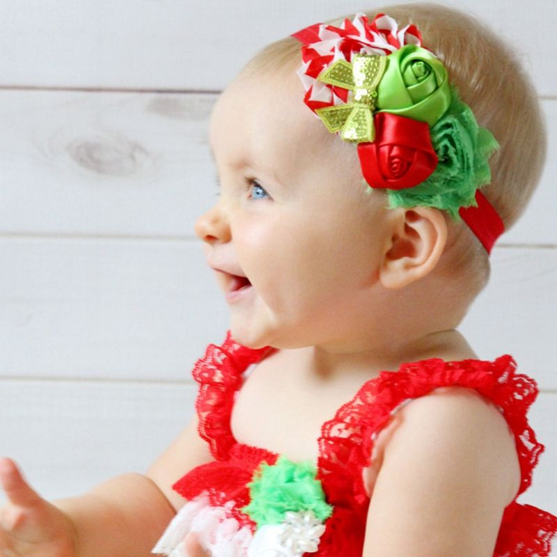 Click to Buy    Rose Red Flowers Sequin Bows Kids Soft Hair Bands ... 2754cc84f370