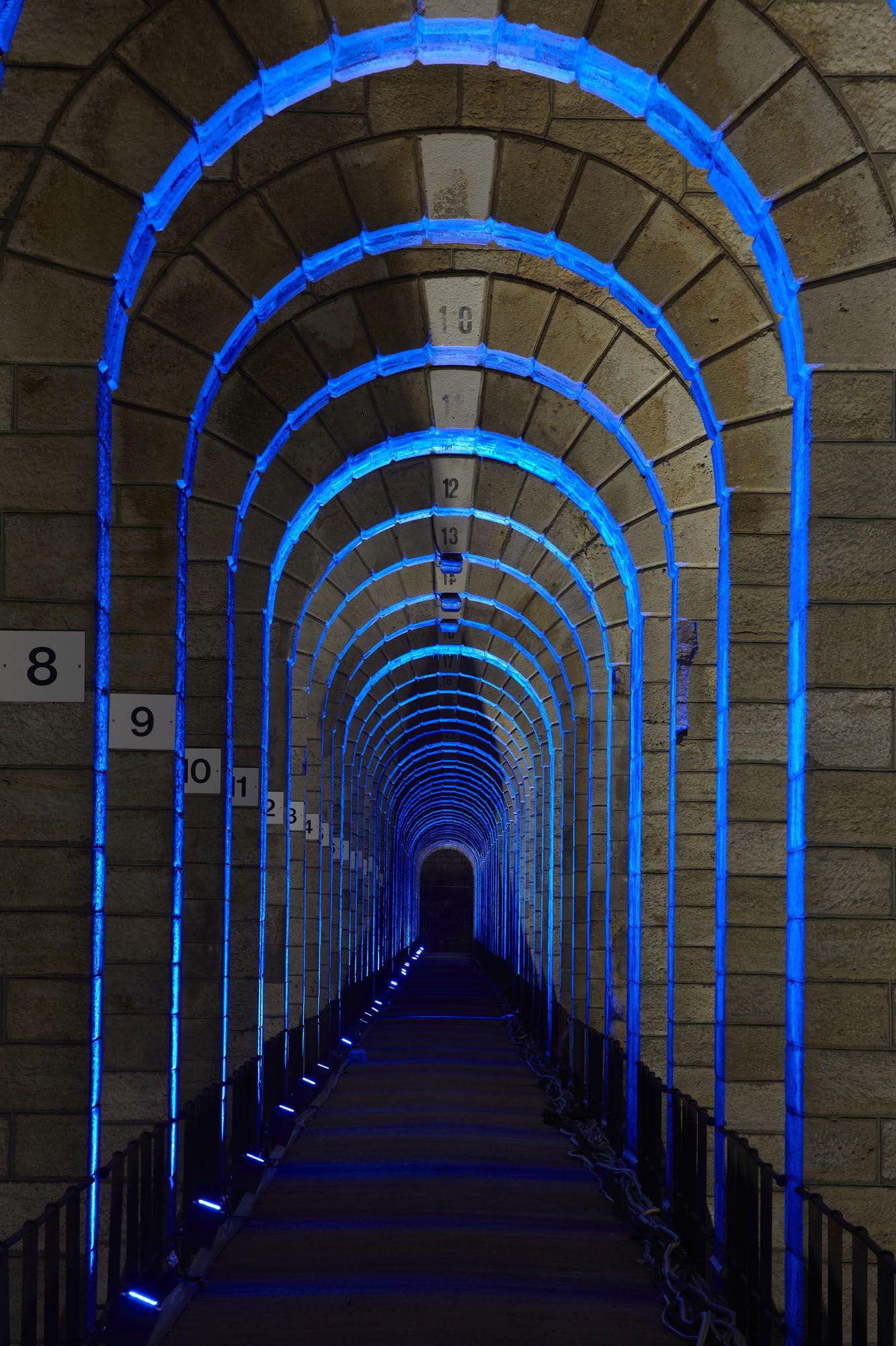 Chaumont Viaduct, France. Lighting Design: Jean-François