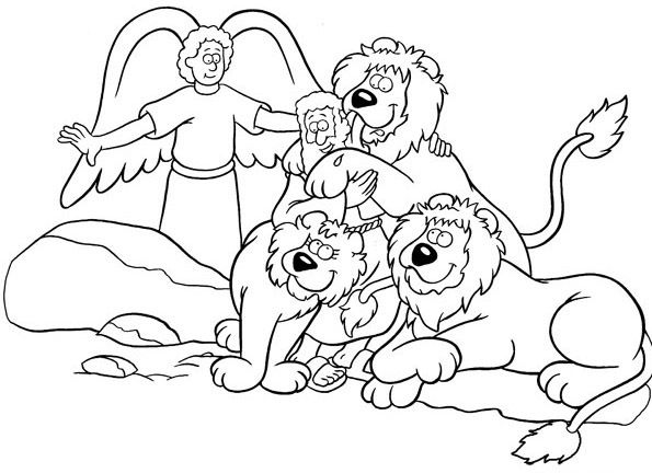 Daniel Saved from an Angel in Daniel and the Lions Den Coloring