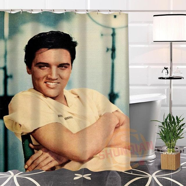 New Eco Friendly Custom Unique Elvis Presley Fabric Modern Shower