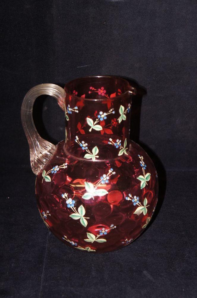 Antique Hand Blown Reverse Thumbprint Cranberry Glass Reed Handle Pitcher Pontil
