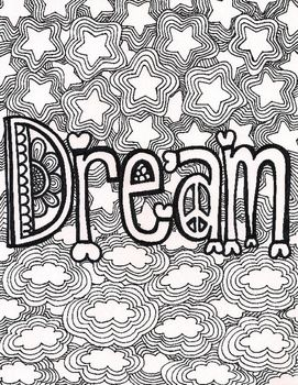 This Coloring Page Is Saved As A PDF It Says The Word Dream With Clouds