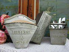 FRANKREICH Filtres a Cafe Filtertüten Behälter Küche Zink Blech shabby Kaffee