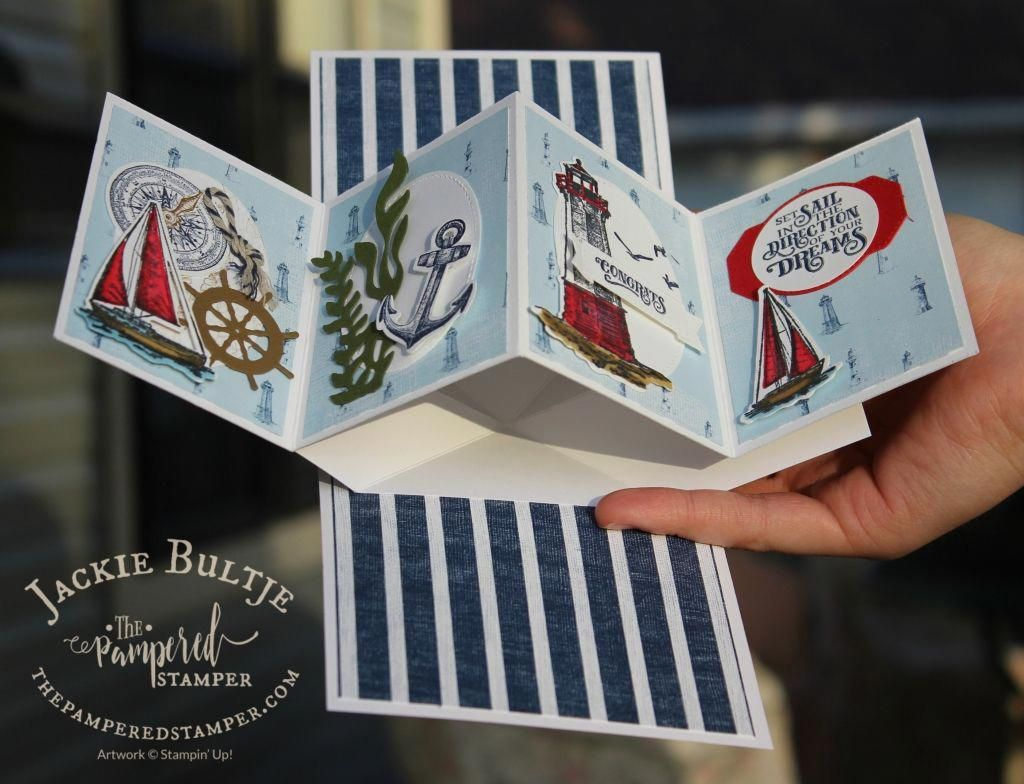 Come Sail Away Twisted Pop Up Card Two Card Craft Pop Up Cards Fancy Fold Cards