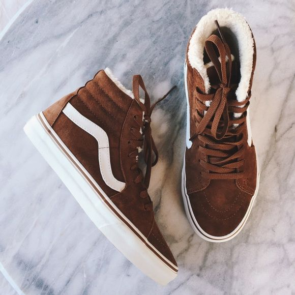 Vans Suede Fleece Sk8-Hi Sneakers •Suede Sk8-Hi sneakers with cozy fleece lining.   •Women's size 8.   •New in box (no lid). NO TRADES/PAYPAL Vans Shoes Sneakers