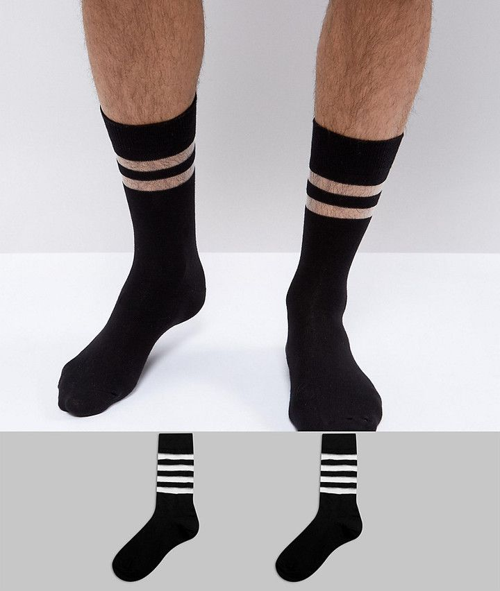 2 Pack Stripe Calf Length Sock - Multi Asos Buy Cheap Lowest Price PgCc9J