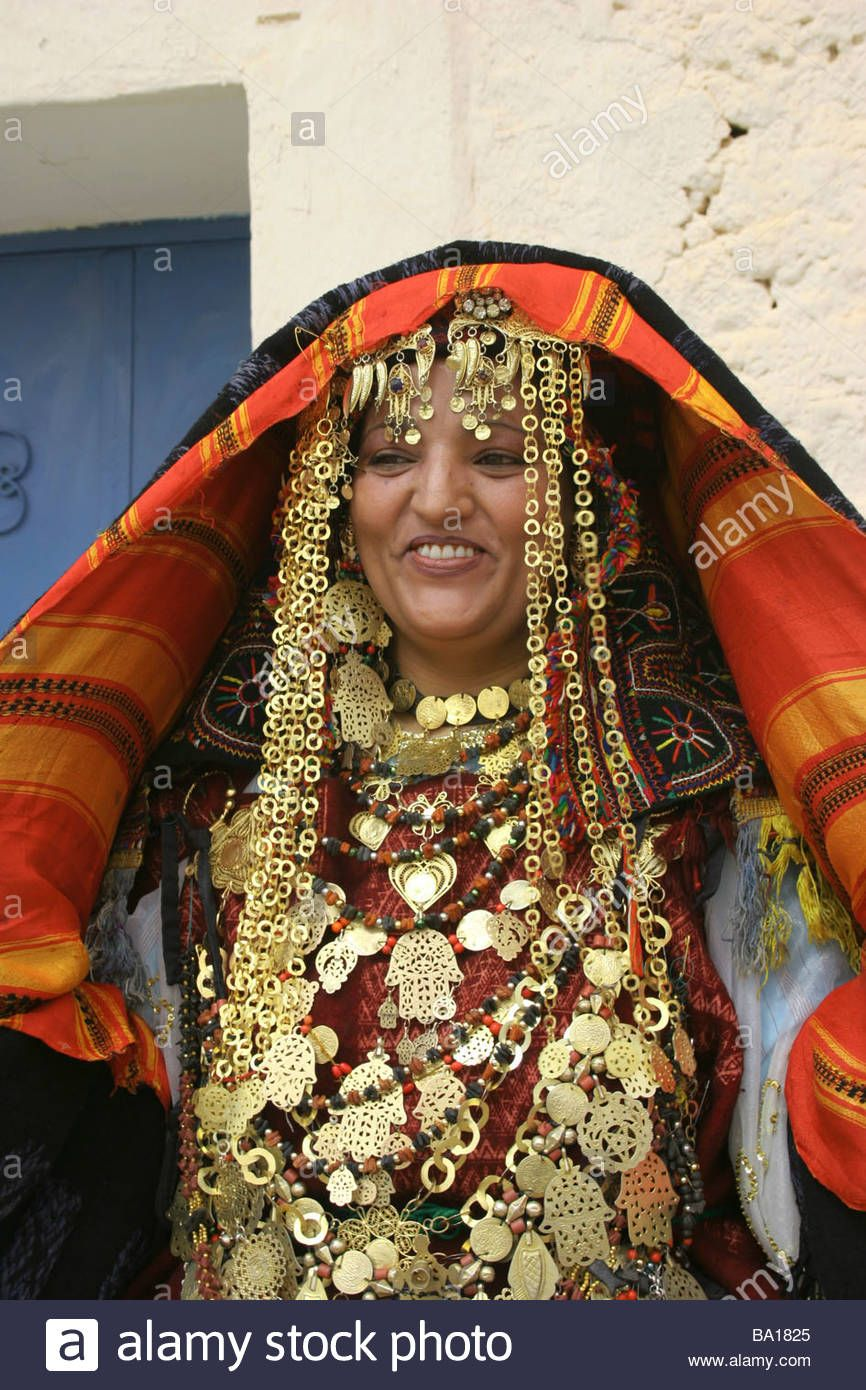 tunisian bride outside her home wearing traditional dress is