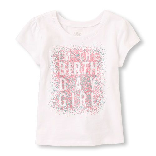 Toddler Girls Short Sleeve Im The Birthday Girl Graphic Tee