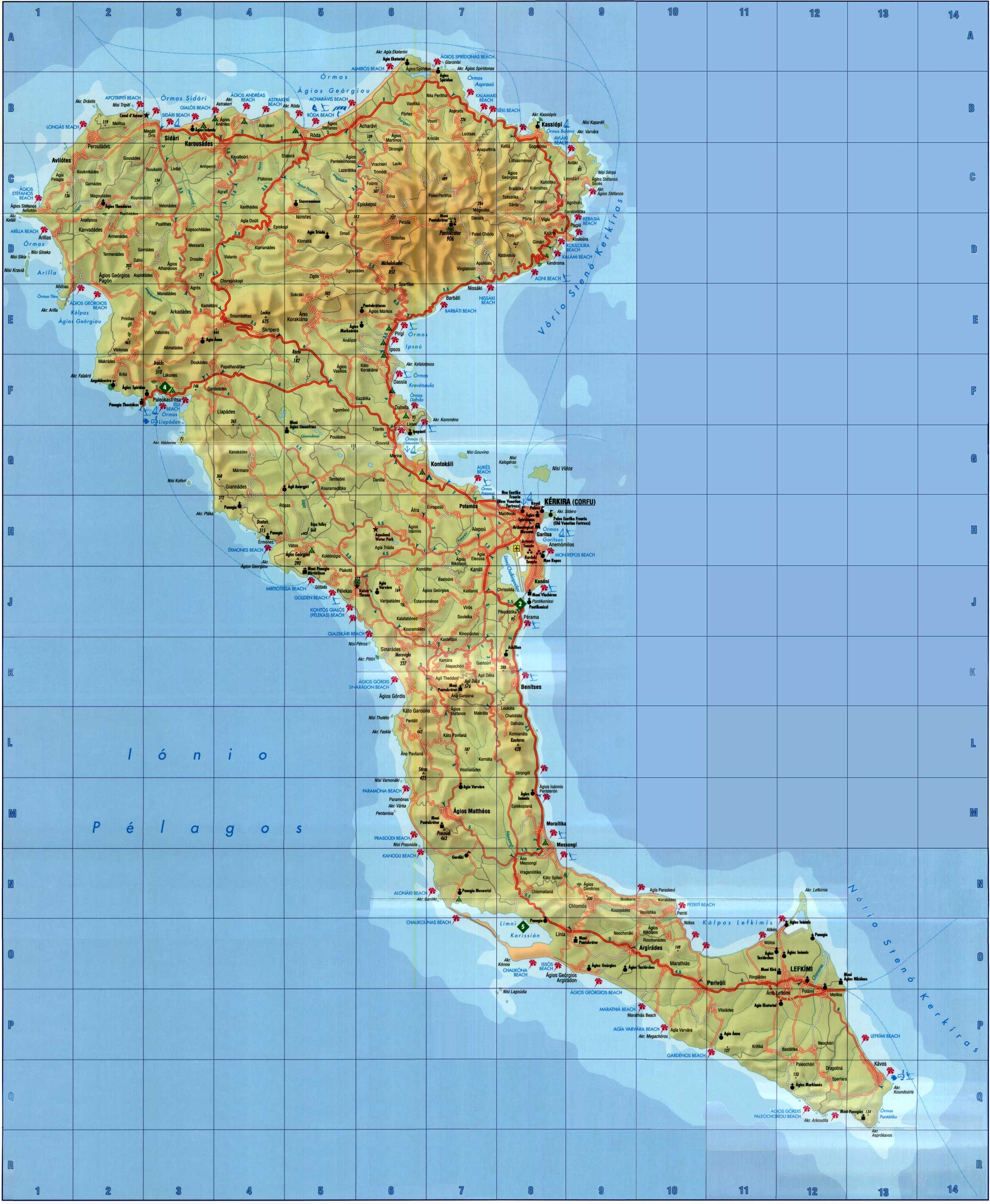 Corfu Map 0 Jpg 2500 3040 Corfou Grece Corfou Corfou Carte