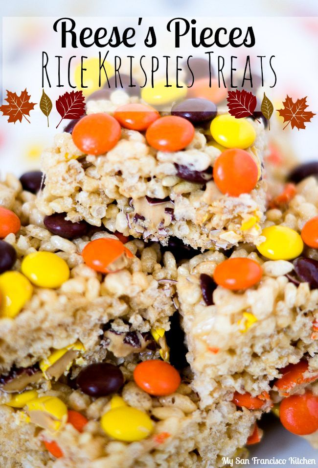 Reese's Pieces Rice Krispies Treats recipe - a yummy Fall no bake dessert recipe... - Rice Recipes #ricekrispiestreats