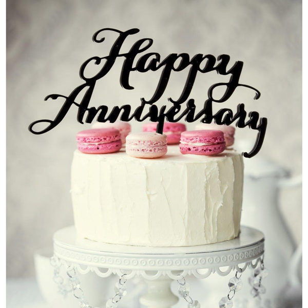 Black Happy Anniversary Cake Topper Happy Anniversary Cakes Gold Anniversary Cake Anniversary Cake