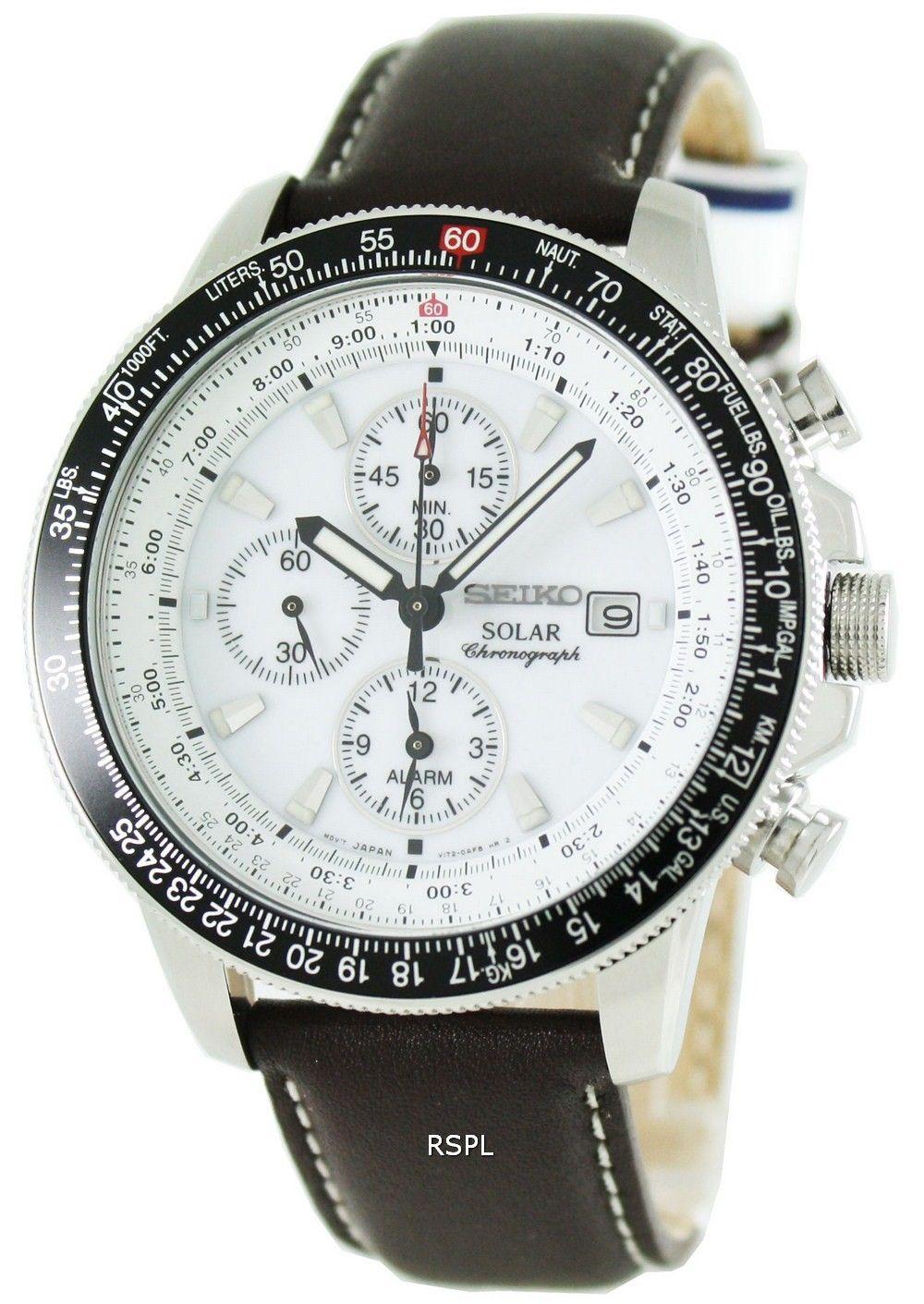 cde051cfc0be09 Alarme solaire de Seiko Pilot la montre de chronographe Flightmaster  SSC013P1 SSC013 SSC013P hommes