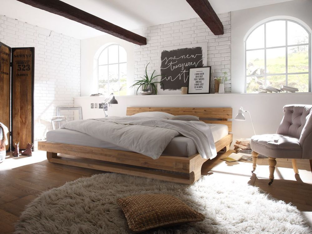 Bett Futon Holz Akazie runder Fuß 180x200 Möbel Schlafen Betten ...