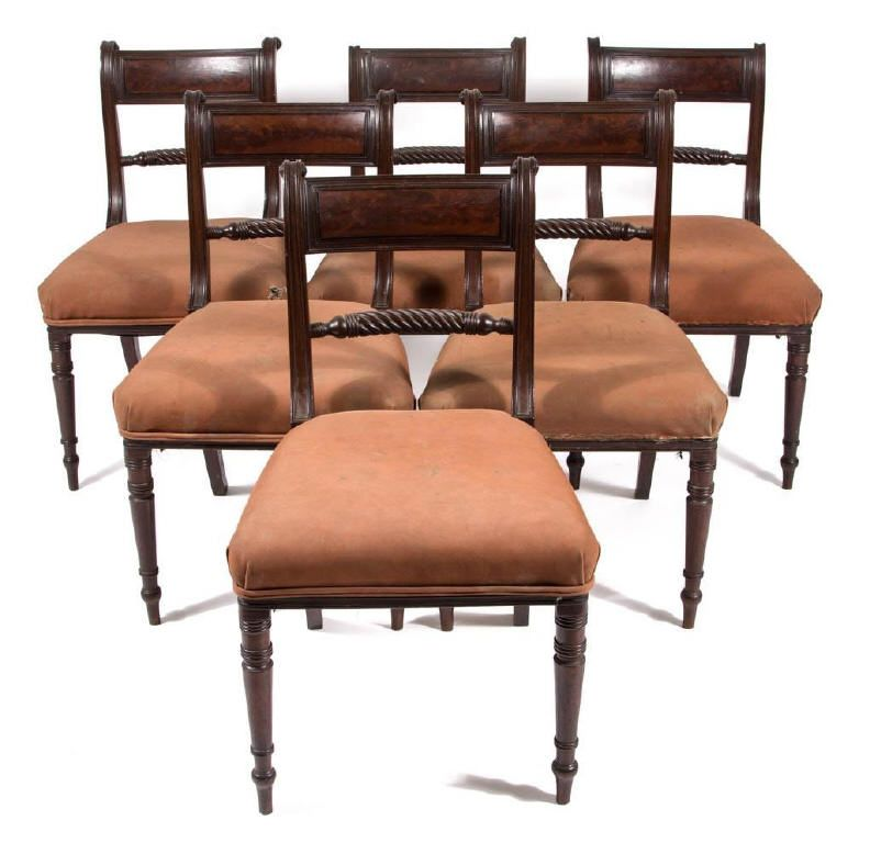 Rare set of six late Federal inlaid mahogany dining chairs, possibly  Richmond, VA - Rare Set Of Six Late Federal Inlaid Mahogany Dining Chairs, Possibly