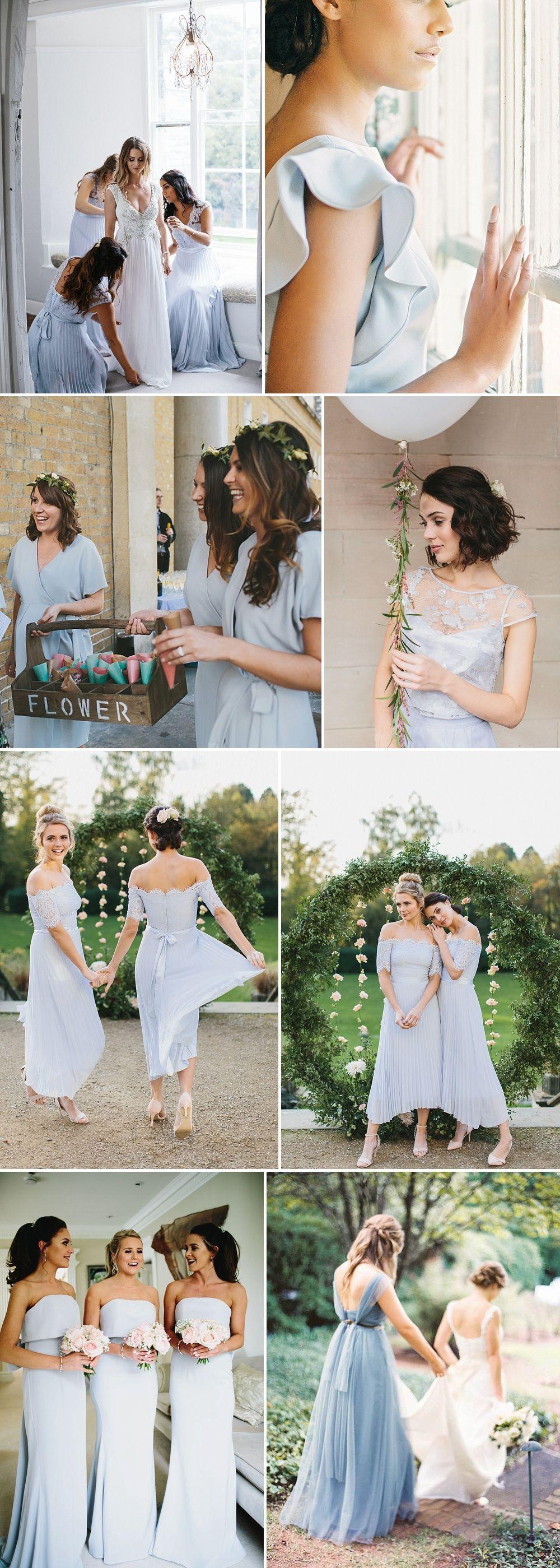 Spring bridesmaids dresses sherbet lemon and powder blue