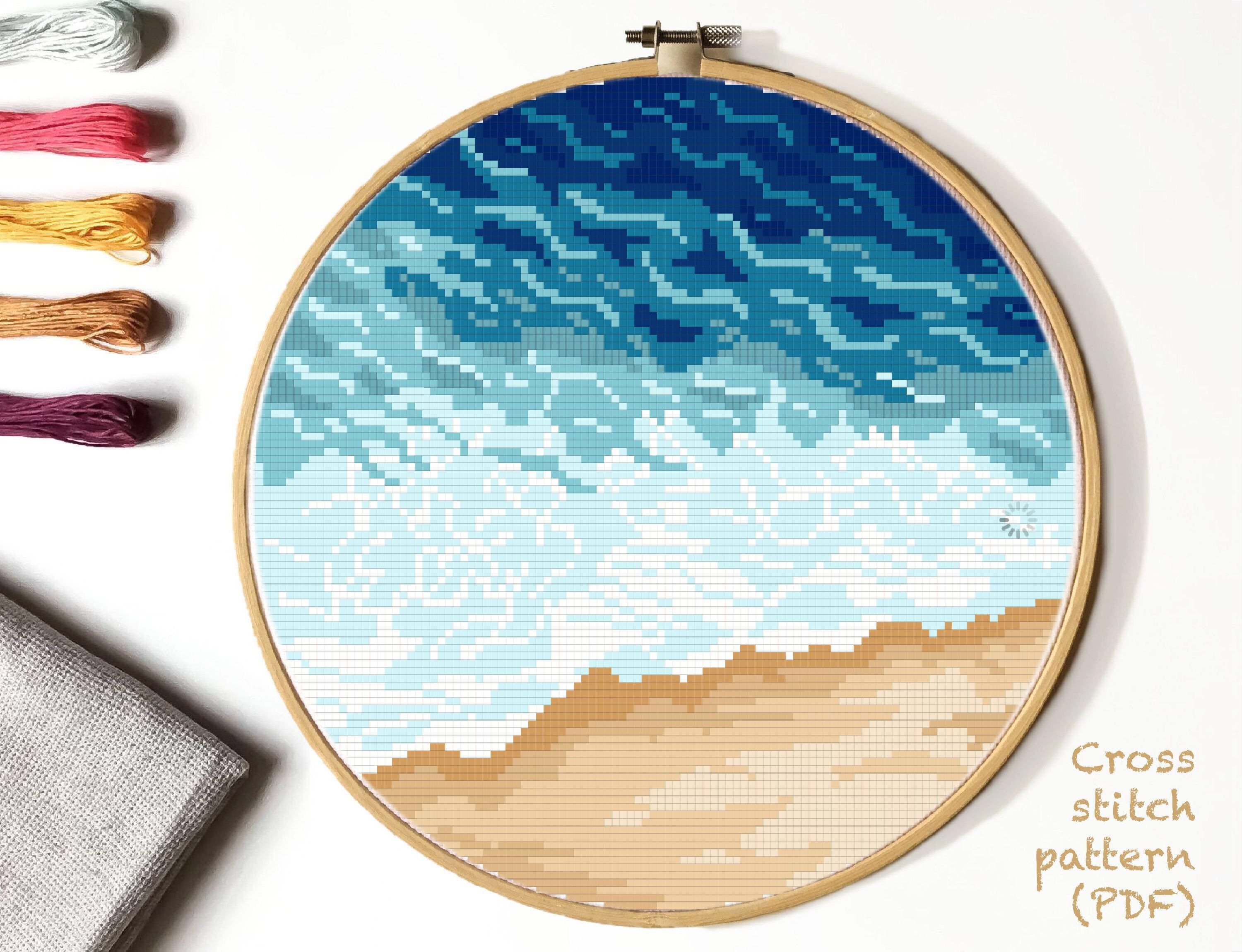 Photo of Modern nature cross stitch pattern, landscape, sea, beach, watercolor, ocean cross stitch,  embroidery,  INSTANT DOWNLOAD PDF