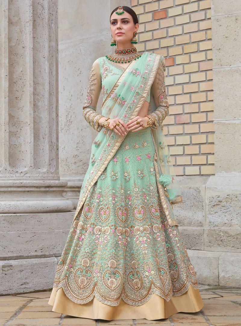 0d820220b2 Sea Green Net A Line Lehenga Choli 134937   Bollywood dresses ...
