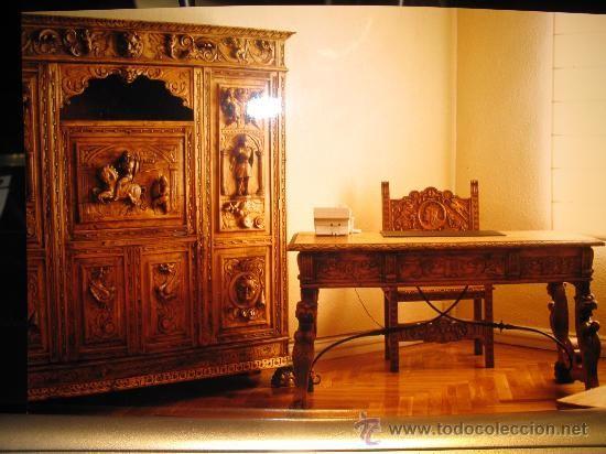 despacho estilo espaol en madera de castao antigedades muebles antiguos mesas de