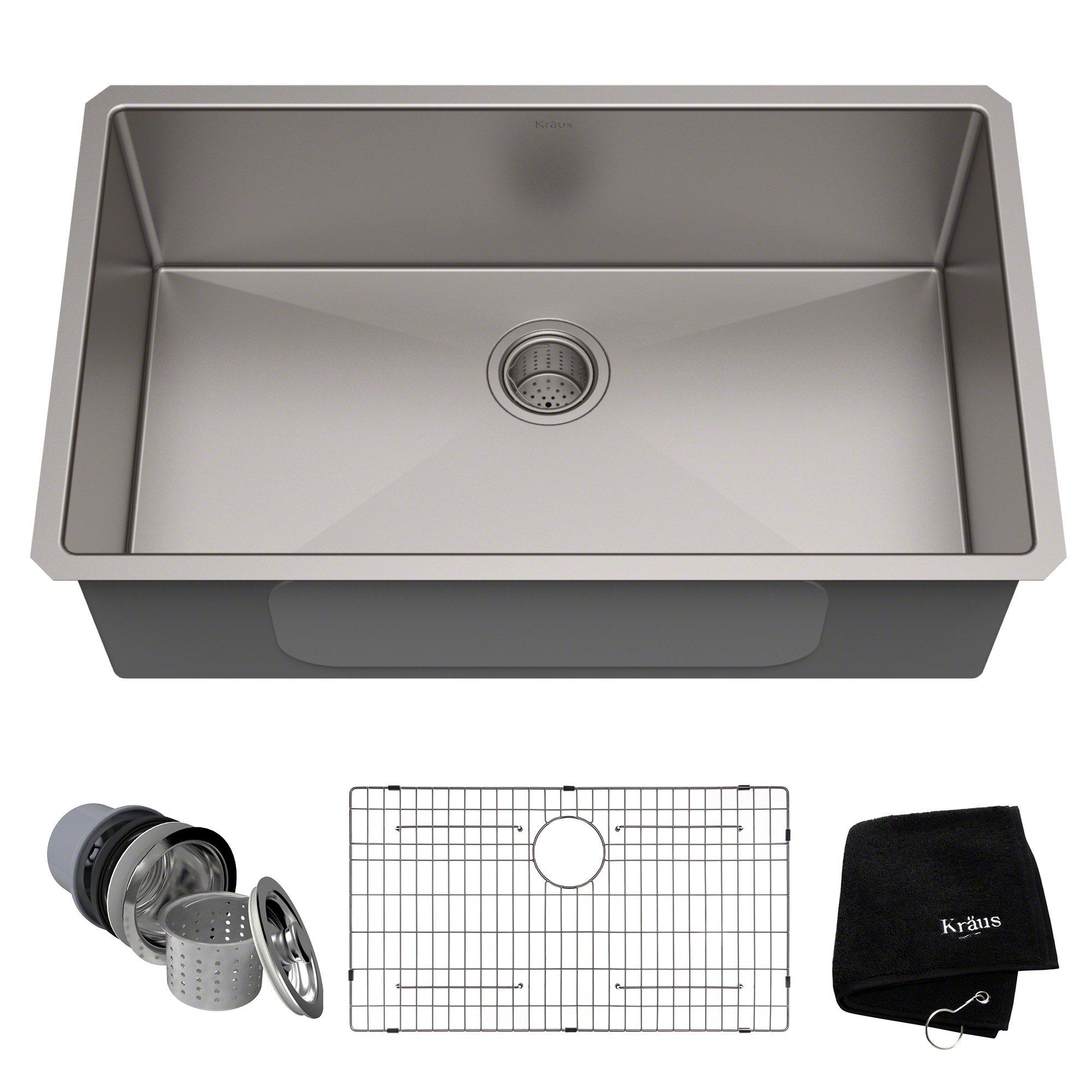 Kraus Standart Pro 32 Inch 16 Gauge Undermount Single Bowl Stainless Steel Kitchen Sink Farmhouse Sink Kitchen Kitchen Sink Remodel Undermount Kitchen Sinks