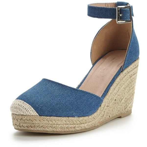 db915919140 V By Very Polly Two Part Espadrille Wedge- Denim Blue ($23) ❤ liked ...