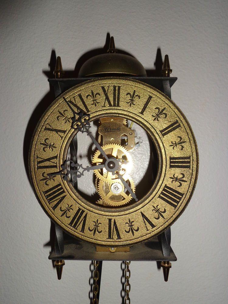 German Franz Hermle Antique Dial Skeleton Clock W Pendulum Bell Ringer Works Clock Antique Wall Clock Wall Clock