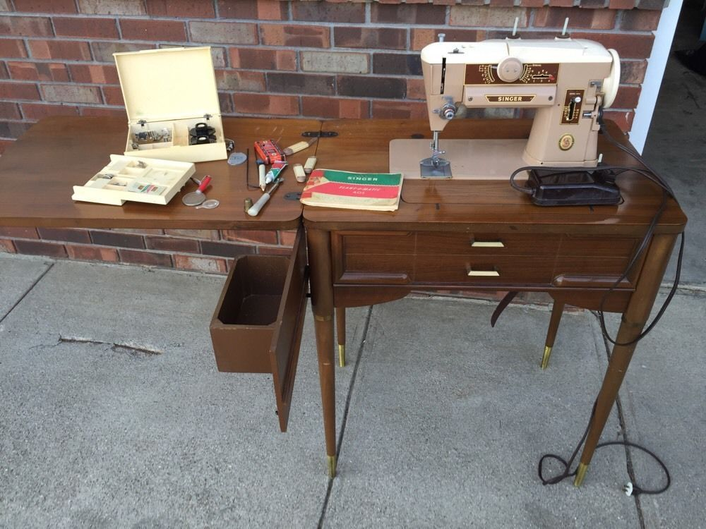 Vintage Singer Model 401 Slant O Matic Sewing Machine Table Manual Accessories Ebay