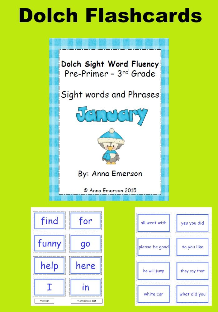 January Dolch Sight Words Flash Cards and Fluency Phrases TPT K-2