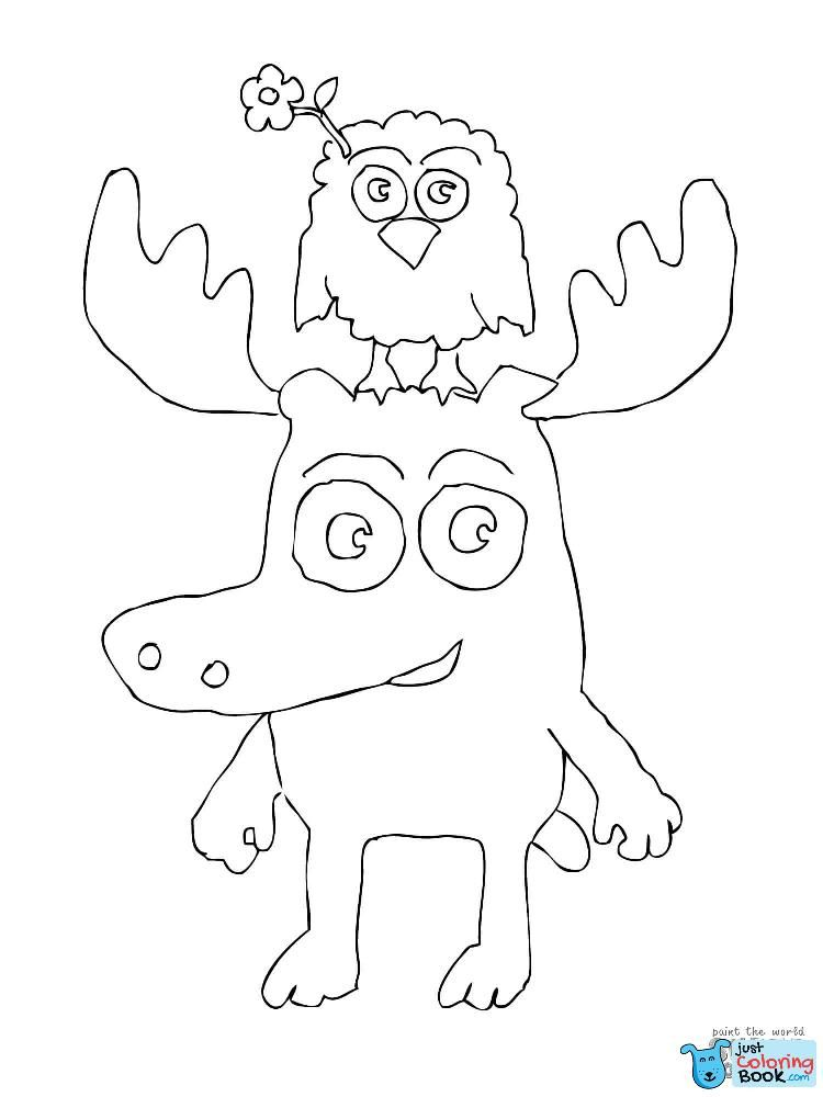 Zee Is Standing On Moose A Moose039s Head Coloring Page Throughout Free Moose Mask Coloring Pages
